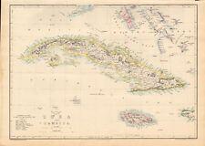 1863 large antique map-Dispatch Atlas-Cuba et la Jamaïque