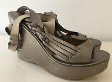 BRONX Gold Bronze Wedge Platform Leather Sandals Shoes Heels 38 5