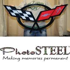 "C5 Corvette Crossed flag Wall Emblem Large Metal Art 97-04 Full 32"" by 15"""