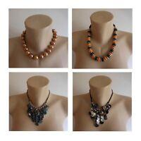 4 colliers pierre métal perle bijou ancien vintage fait main ethnique N3389