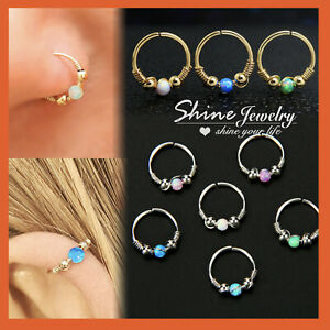 Handmade Opal Turquoise Bead Nose Ring Hoop Ear Cartilage Helix Piercing Earring