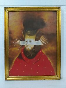 REMEDIOS VARO MEXICAN PAINTER OIL ON CANVAS WITH FRAME IN GOLDEN LEAF