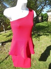 Boohoo.com one shoulder dress short length in red size 8