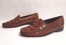 EUC Cole Haan Bragano Woven Brown Leather Loafers Made in Italy Size 11 M
