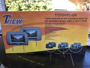 """Tview Pair T737dvpl-gr 7"""" Monitor W/dvd Player In Built In Car Headrest Grey New"""