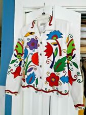 COLDWATER CREEK Women's RETRO White Jacket Embroidered Colorful Flowers