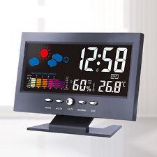 Sound Sensor Light Up LCD Digital Table Clock + Calendar Temperature Alarm Black