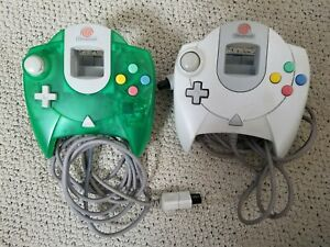 Lot of 2 Sega Dreamcast Official White and Green Controllers Working