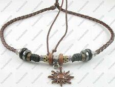 Ethnic Jewelry Adjustable Tribal Hemp Brown Leather Necklace Choker Men Women #3