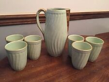 Vintage Sesto Fiorentino Italy ~ Set of 6 Green / Gold Tumblers and Pitcher