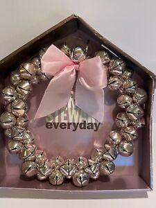 "Vintage Martha Stewart Everyday Christmas Wreath Silver Jingle Bells 12"" IOB"