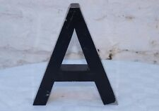 """A"" LARGE BLACK PAINTED ALUMINIUM LETTER INDUSTRIAL PUB SHOP SIGN FOR MAN CAVE"