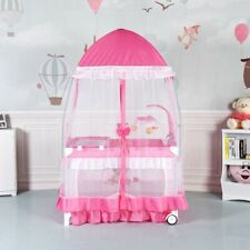 Baby Crib Cradle Bassinet Nursery Furniture Portable Bed Newborn Pink Playpen
