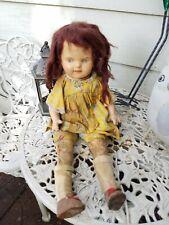 Creepy Icky Moldy Antique Female Girl Hard Plastic Doll Glued Hair