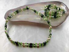 Hämatit Kette oder Armband mit echten weißen Zucht Perlen und Perle smaragd Grün