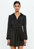 Missguided Black satin tie wrap shirt mini dress size 8