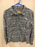 Cabela's Women's Flannel Tech Long Sleeve Woven Shirt Size Small Blue Plaid Soft