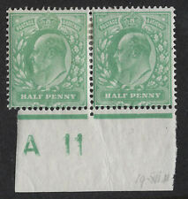 GB :ED VII 1/2d yellow- green control A 11 perf 15x14 IMPERFORATE margin mint pr