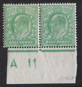 GB :ED VII 1/2d yellow- green control A 11 perf 15x14 IMPERFORATE margin mint pr