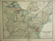 1896 LARGE VICTORIAN MAP ~ UNITED STATES EASTERN MAINE NEW YORK OHIO KENTUCKY