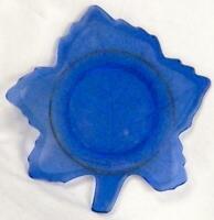 Maple Leaf Salad Plate Blue Depression Glass Crackle Texture Vintage MAKER HELP