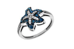 Goldenstar 0.45Ct. Blue & White Diamond Star Shape Ring