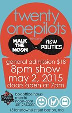 "TWENTY ONE PILOTS/WALK THE MOON ""BLURRYFACE TOUR"" 2015 BOSTON CONCERT POSTER v.2"
