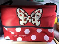 Minnie Mouse Polka Dot Canvas Tote Bag Side Handles Big Bow18 X 12x10 Collapses