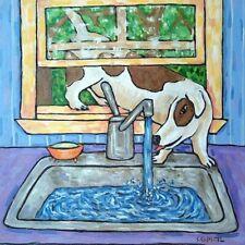 Jack Russell terrier dog PRINT on Modern kitchen sink tile coaster gift JSCHMETZ