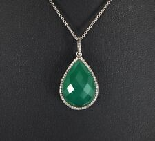 $1,250 14K White Gold Green Pear Checkerboard Chrysoprase Round Diamond Pendant