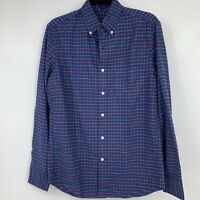J Crew mens shirt small long sleeve button down plaid blue collared casual NEW