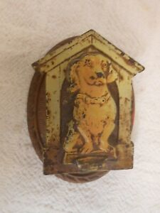 Good Unusual Antique Cast Iron Door Knocker Dog In Doghouse