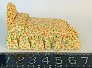 Vintage miniature American DOLL HOUSE upholstered BED, charming, c1940's-5O's