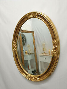 Oval Gilt Leaf Ornate Wall Mirror French Vintage Antique Decorative 61x81cm Gold