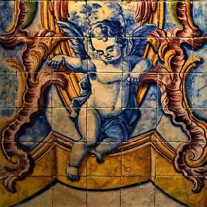 Vintage Ceramic Tile Portuguese Azulejo European Trivet Art Nouveau Azulejo