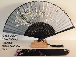 Japanese Silk Hand Fan - Cherry blossom n Sakura with Silk Fan Holder SSF002