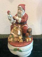 "Vintage Christmas Porcelain Musical Santa Claus Silent Night Rotating Music 7"""