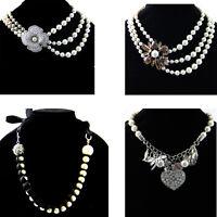 6 Design Luxury Pearl Women Choker Bib Statement Collar Chain Chunky Necklace