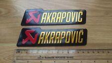 2X AKRAPOVIC Metal Exhaust Can Sticker Heat Proof Yamaha Kawasaki Ducati Ninja
