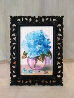 Blue Hydrangeas Framed Original Textured oil painting Floral still life#04-225
