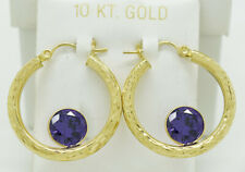 AMETHYST 4.48 Cts HOOP EARRINGS 10K GOLD ** MADE IN USA ** New With Tag