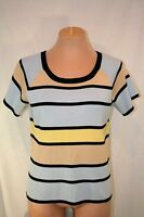 Soft FIRST ISSUE Liz Claiborne Blue Tan Yellow Stripe Sweater Top Womens Size L