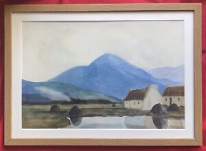 Original Irish Art Watercolour Painting Connemara Cottages In Landscape Signed