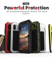 R-just Gorilla Glas Wasserfest Metall Tank Handy Hülle Case für iPhone X Xs Max