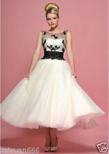 New Tea length 1950s style Black lace white ivory tulle party Prom dresses 6++22