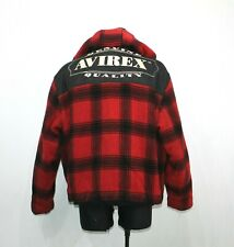 Vintage AVIREX USA A2 Melton Heavyweight Red Wool Jacket Hooded Checkered Men XL