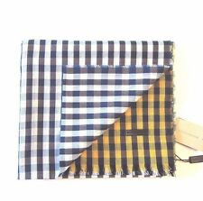 J-1071995 New Burberry Gingham Blue Yellow White Cotton Scarf 70x19