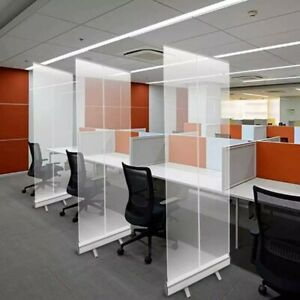 6.5 Ft Free-Standing Clear Partition, Transparent Social Distance Wall Divider