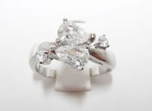 Sterling Silver 925 Double Pear CZ Fashion Ring