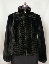 Womens Apline Studio Black Chic Soft Faux Vegan Warm Fur Short Coat Size M